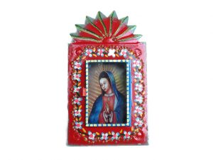Mexican Tin Nicho, Lady of Guadalupe wearing blue cape, 6.5-inch