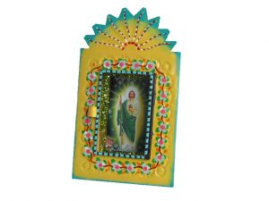 Mexican Tin Nicho, Saint Jude Thaddeus image in hand-painted, yellow frame, 6-inch