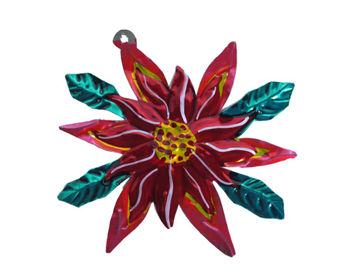 Poinsettia, painted tin Christmas decoration by Valdez family