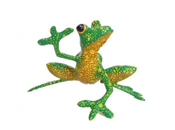 Frog, Oaxaca Alebrije Carving, green and yellow