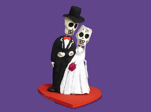CAKE TOPPER: Skeleton Bride and Groom Pottery Figures on Red Heart Base