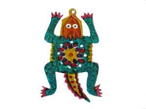 Iguana, painted tin ornament
