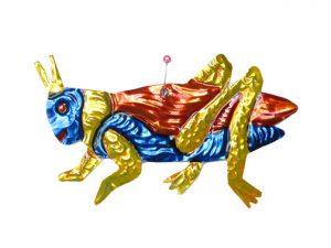 Grasshopper, flat, Mexican painted tin art