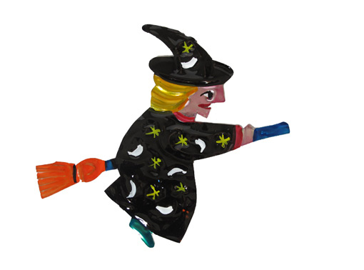 Witch Flying On Broom, painted tin wall decor, black robe, 4-inch