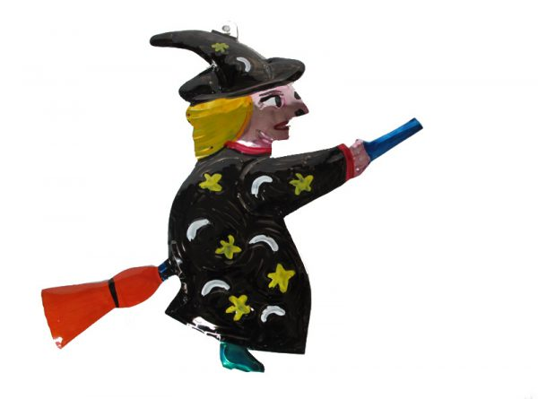 Witch Flying on Broom, painted tin wall decor, black robe, 7-inch