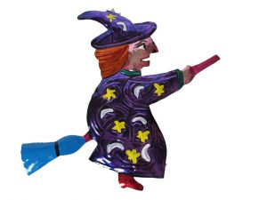 Witch Flying On Broom, painted tin wall decor, purple robe, 7-inch
