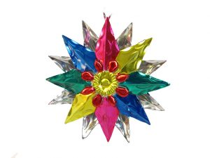 Tin Star Christmas Ornament, multicolor, 6 inch with 16 points