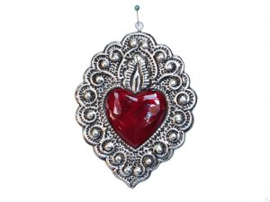 Heart With Flame Ornament, Mexican Tin Art by Conrado, 5-inch