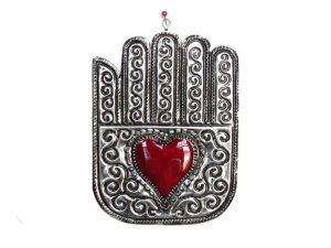 Hamsa, Mano De Fatima Tin Plaque, with heart