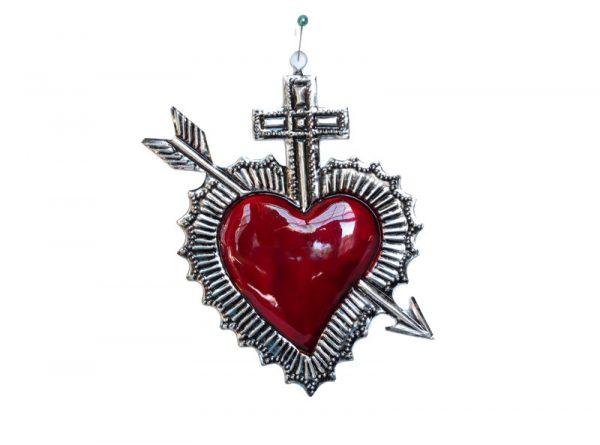 Tin Heart Ornament With Cupid's Arrow, by Conrado, 5-inch