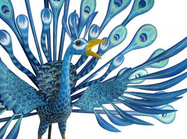 Peacock by Tribus Mixes, Oaxacan Wood Carving, 27-inch wide by 20-inch tall