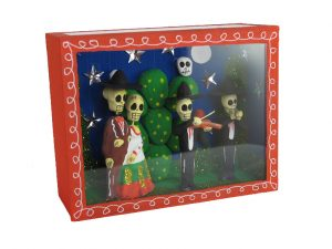 Skeleton Couple with Cactus & Musicians, shadowbox