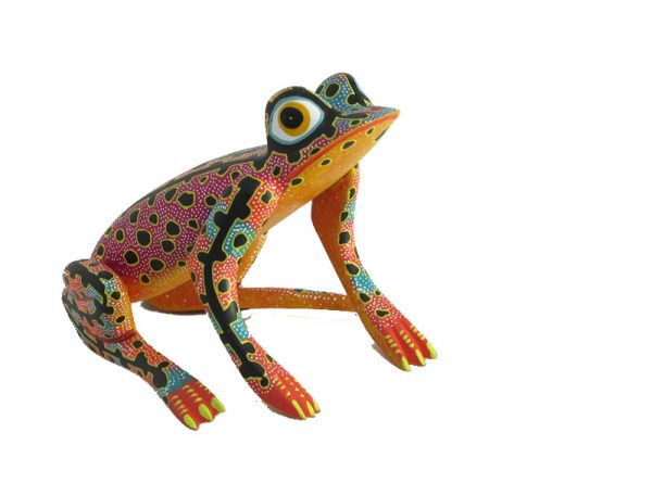 Bullfrog, Oaxacan Wood Carving, by Blas family, 6-inch, red accent