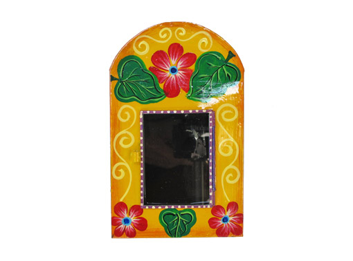 Mexican Tin Nicho, Empty Frame, hand-painted yellow with red flowers. Customize with your own photo