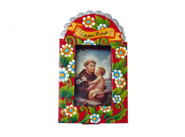 Mexican Tin Nicho, St. Anthony and Jesus color print, in hand-painted, red frame, 6-inch