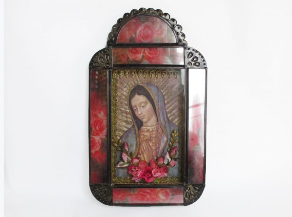 Mexican Tin Nicho with Lady of Guadalupe print in pink frame, 12-inch