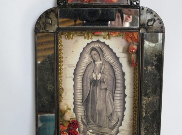 Mexican Tin Nicho, Lady of Guadalupe, in antique look frame, 12-inch