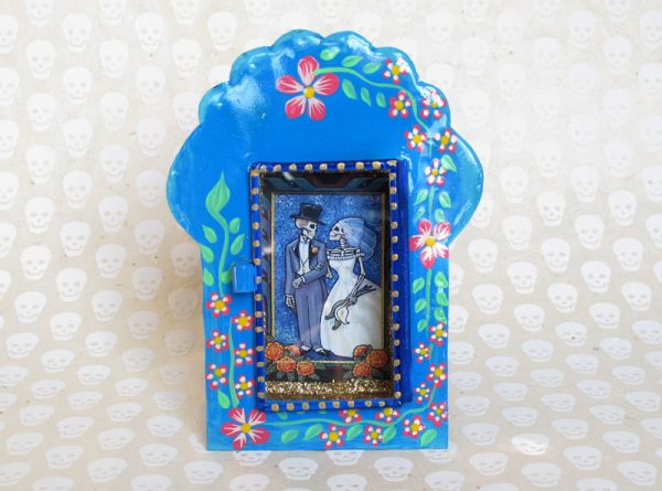 Skeleton Bride & Groom, hand-painted, Mexican tin nicho frame, blue, 6-inch