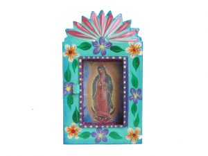 Mexican Tin Nicho, Lady of Guadalupe print in turquoise frame, 6 inch