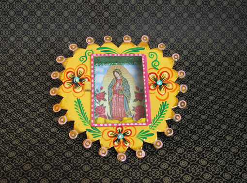 Mexican Tin Nicho, yellow heart, holds print of Lady of Guadalupe, 6-inch