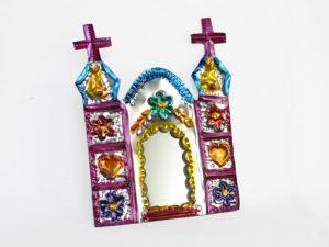 Church with Mirror, Mexican tin ornament