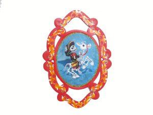 Skeleton Horseback Rider, tin wall plaque (guirnalda)