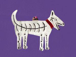 Skeleton Dog, painted tin figure