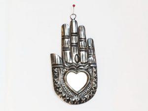 Hamsa Hand,  Tin Wall Plaque w/heart-shaped mirror