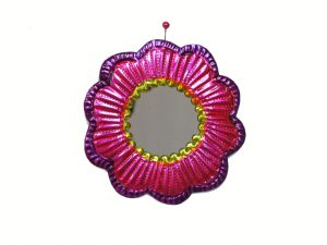 Pink Frame with Mirror, Tin Wall Decor, 3.5-inch