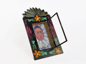 Frida Kahlo, Tin Nicho, black frame, wall art, 6-inch