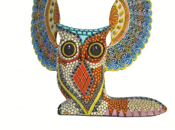 Owl #4, Oaxacan Wood Carving by Tribus Mixes, 10-inch tall