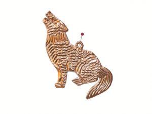 Coyote, pure copper, flat ornament