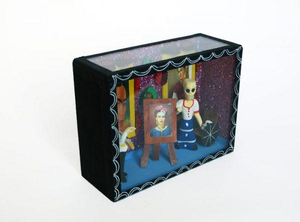 Frida Kahlo & Diego Rivera Skeletons In Studio, Day of Dead diorama box
