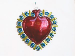 Heart with Blue Flowers Border, by Conrado, 4-inch