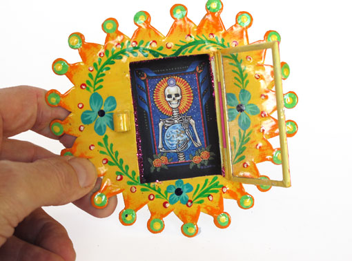 Mexican Tin Nicho, Skeleton with Halo, in heart-shaped, yellow frame, 6-inch