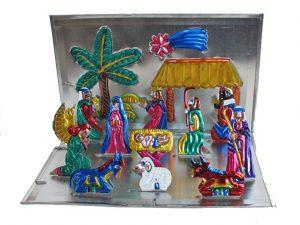 Nativity Display, Fold-Up, Mexican Tin Art