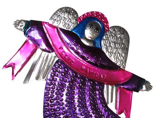 Tin Angel Plaque, purple. Christmas wall decor
