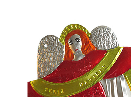 Tin Angel Wall Plaque, red, 14-inch