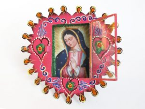 Mexican Tin Nicho, Lady of Guadalupe print in pink, heart frame, 6-inch