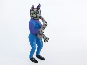 Nahual Cat Saxophonist, Oaxacan Wood Carving, 7.5-inch tall
