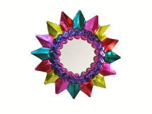 Blazing Sun, multicolor tin frame with mirror