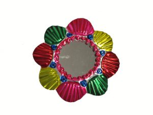 Tin Frame with Mirror, candy colors, 4-inch