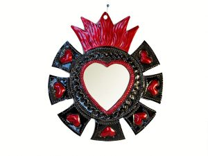 Tin Heart with Mirror, Aztec Style Wall Decor, 7.5-inch (HG)