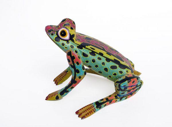 Bullfrog, Oaxacan Wood Carving, by Blas family, 6-inch, green