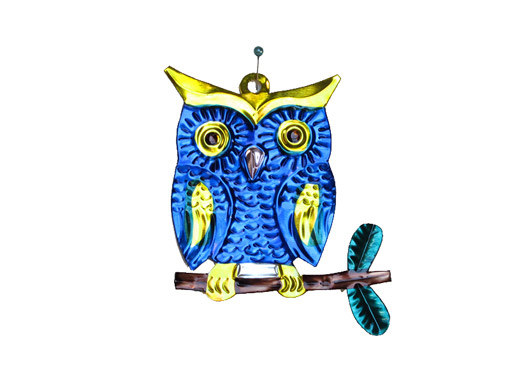 Owl on Branch, blue, tin ornament by HG