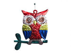 Owl on Branch, tin ornament, multicolor, by HG