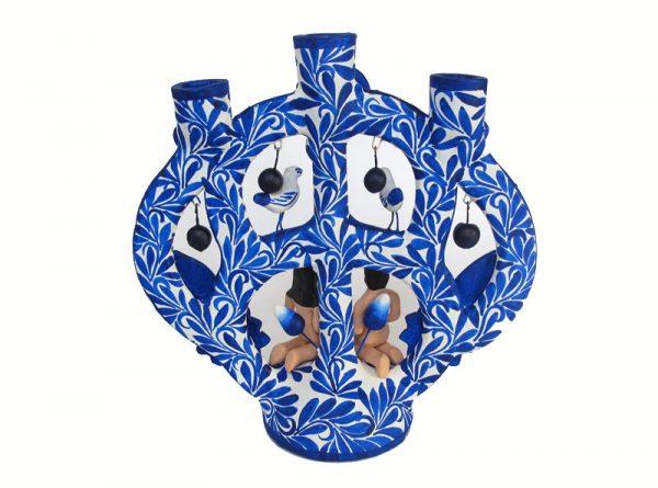 Adam & Eve, Mexican Pottery Candelabra, (blue-white), 21 cm.