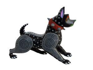 American Pit Bull Dog, Oaxacan Wood Carving, black/grey, 6.5-inch long