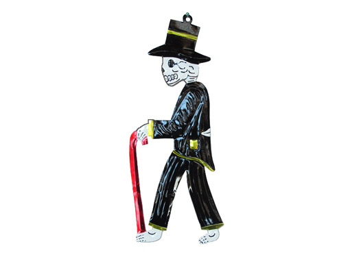 Skeleton Catrino, painted tin wall plaque, black, 9.5-inch