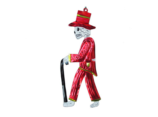 Skeleton Catrino with Top Hat, flat, tin wall plaque, red, 9.5-inch